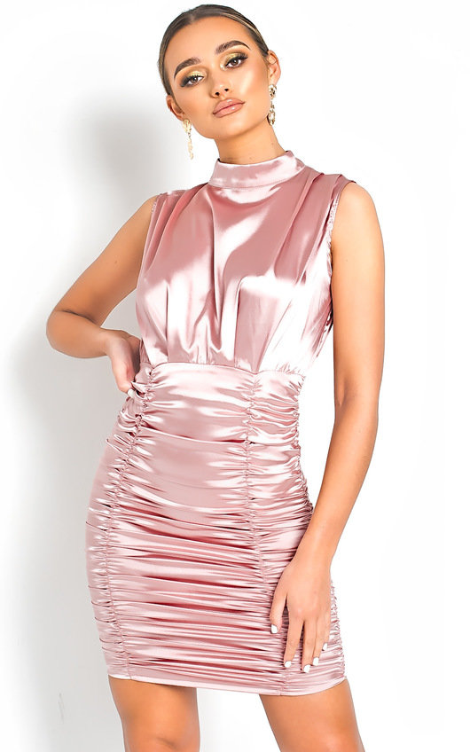 Penelope Satin Gathered High Neck Dress