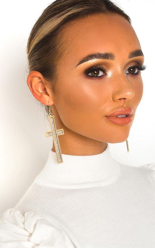 Pennie Diamante Cross Statement Earrings