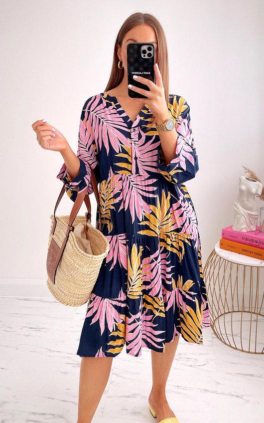 Pennie Printed Midi Shirt Dress in Plus Size