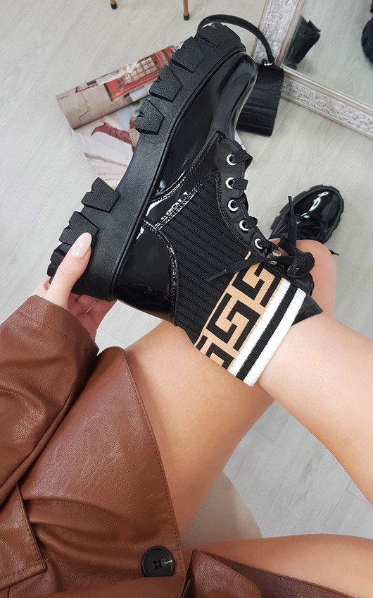 Penny Lace Up Chunky Printed Boots