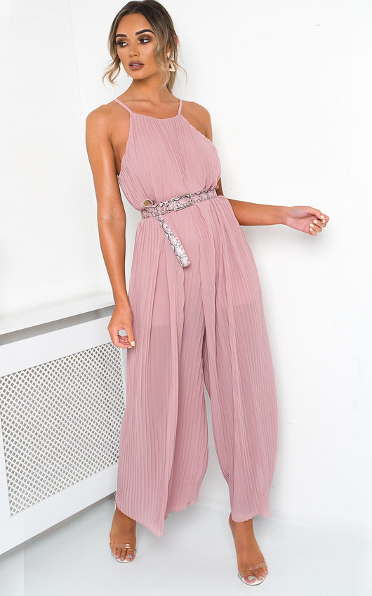 Penny Pleated Wide Leg  Jumpsuit
