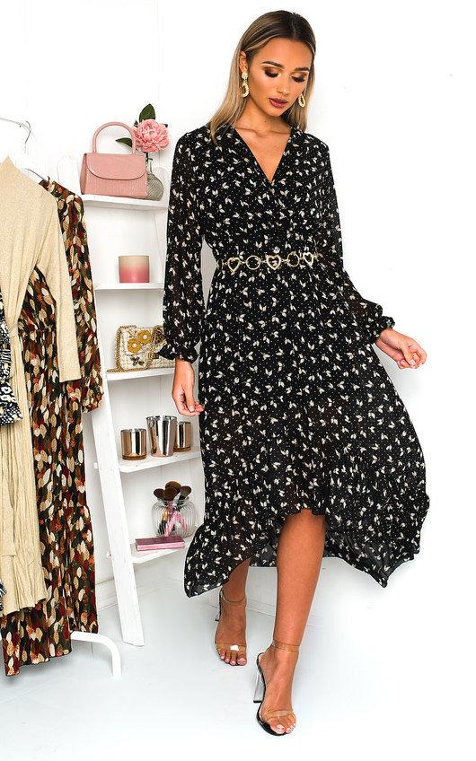 Penny Printed Frill Maxi Dress