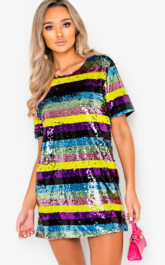 Peppa Sequin Striped Oversized T-Shirt Dress