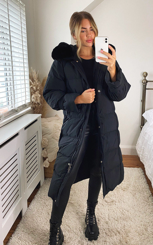 Perrie Longline Padded Puffer Faux Fur Jacket with Hood