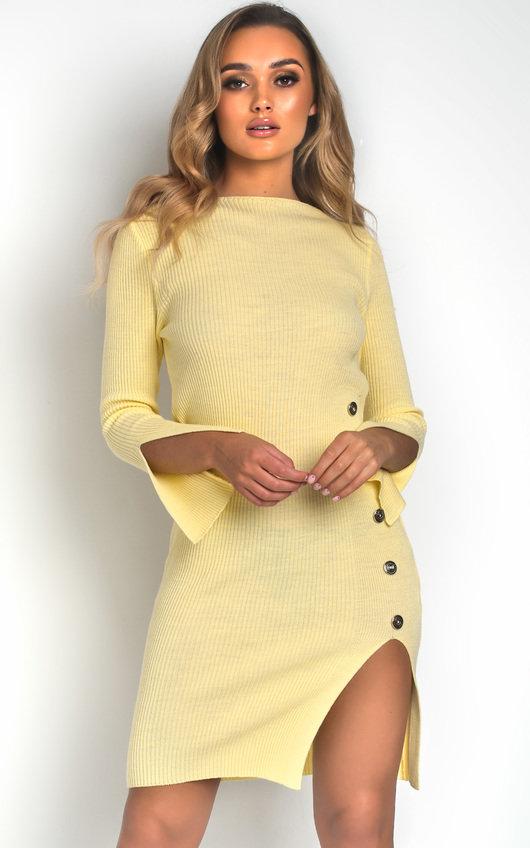 0c22416a2f4 Perrie Side Split Ribbed Jumper Dress in Lemon