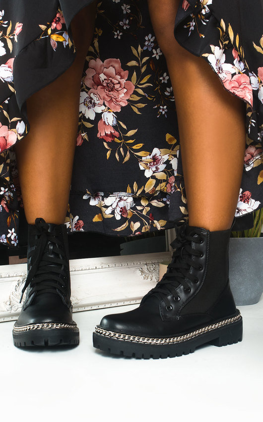 Perry Chain Detail Lace Up Ankle Boots