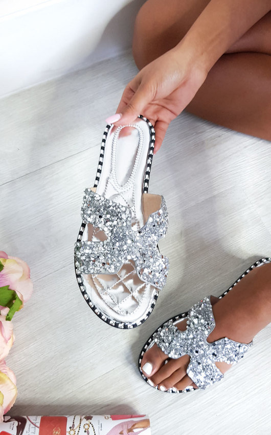 Petra Embellished Slip On Sandals in Silver