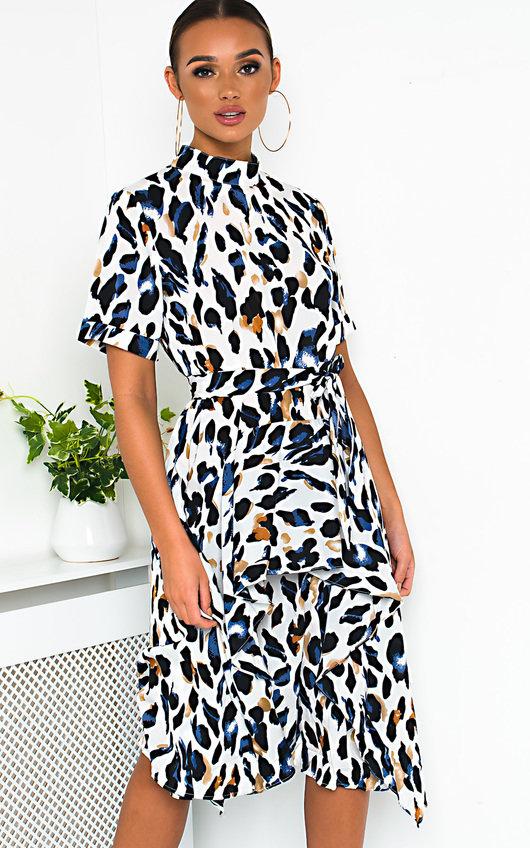Petra Printed Frill Chiffon Dress