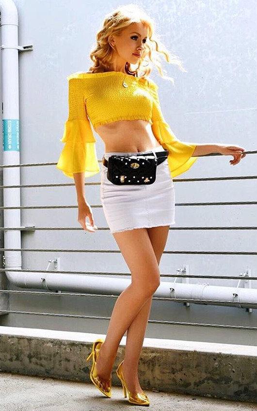 Phoebe Bardot Long Sleeved Frill Crop Top