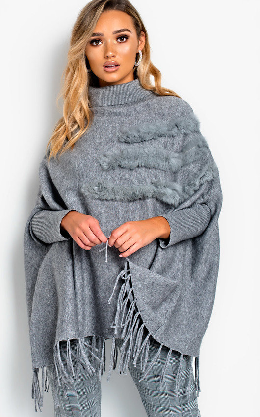 Phoebe Faux Fur Detailed Poncho