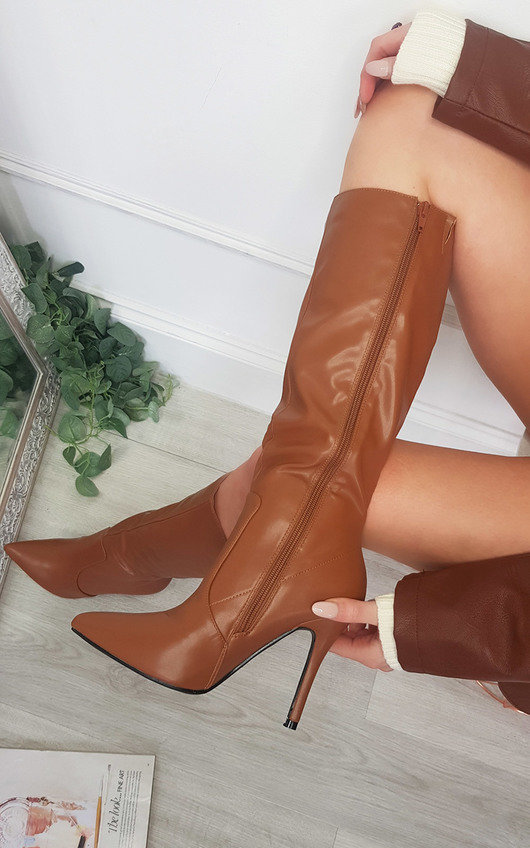Phoebe Faux Leather Knee Length Boots