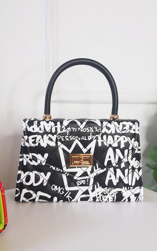 Phoebe Graffiti Print Handbag