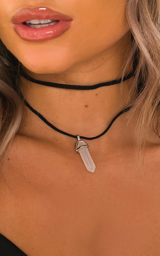 Phoebe Suede Chocker Crystal Drop Gem Necklace