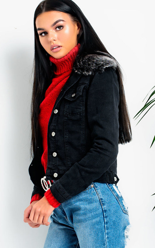 Pia Faux Fur Collared Denim Jacket