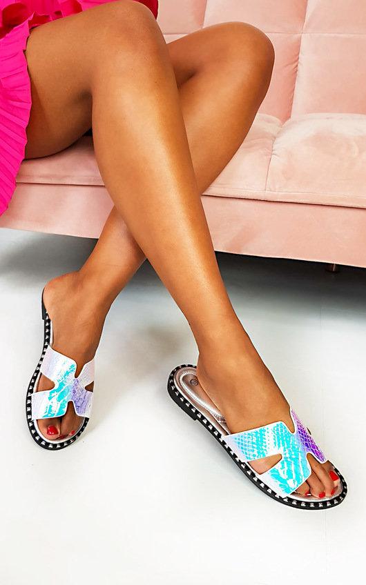 Pia Iridescent Slip On Sandals