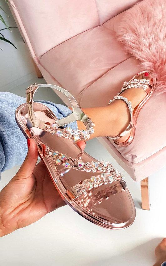 Pia Metallic Diamante Strappy Sandals