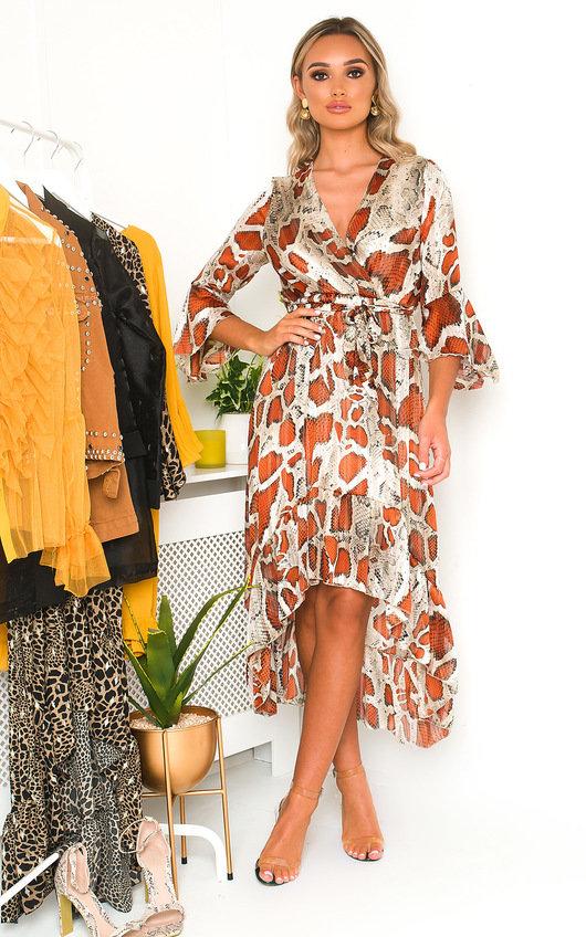 Pia Snake Print Maxi Dress
