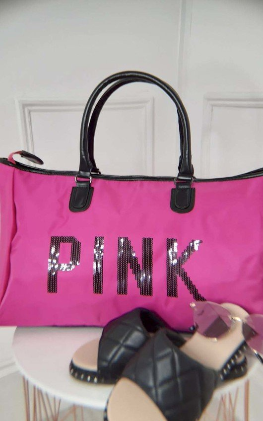 Pink Sequin Embellished Overnight Bag