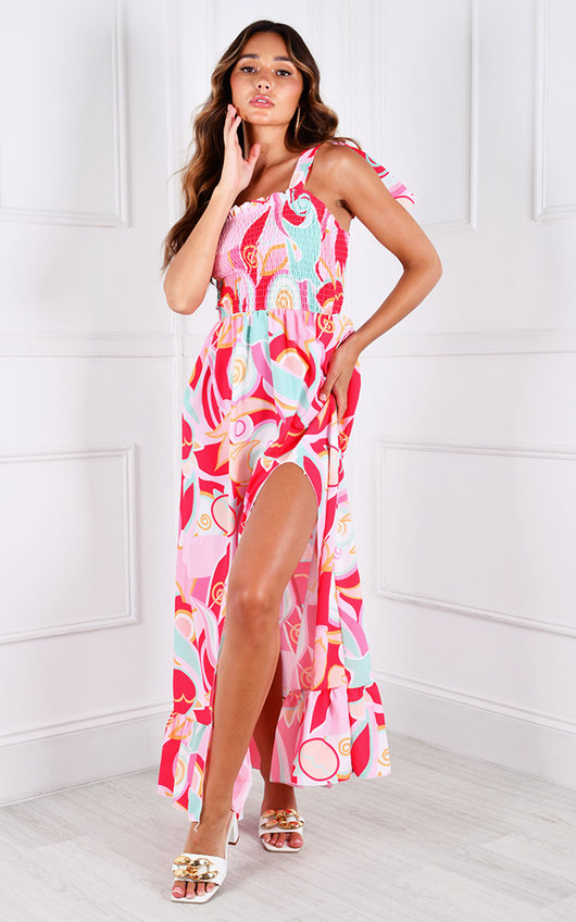 Pixie Thigh Split Ruffle Hem Printed Maxi Dress