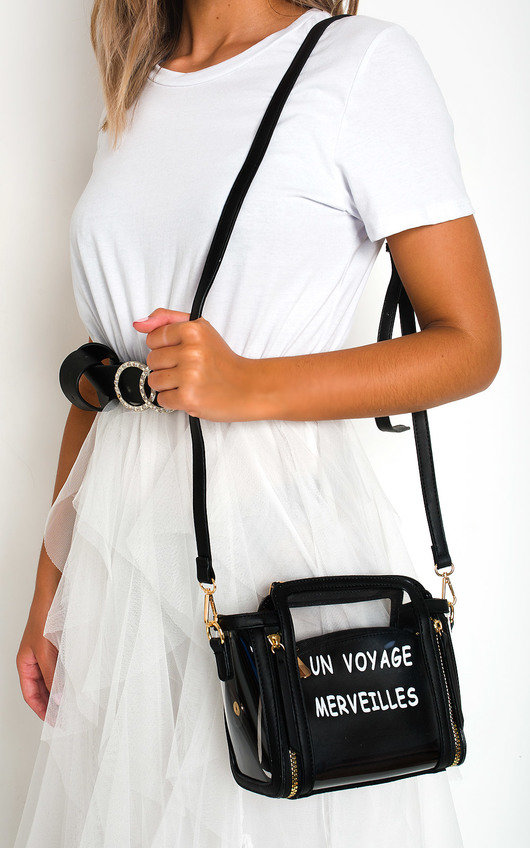 Pollie Clear Slogan Handbag