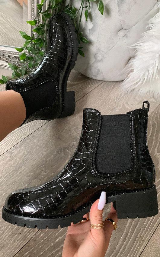Pollie Faux Leather Croc Print Ankle Boots
