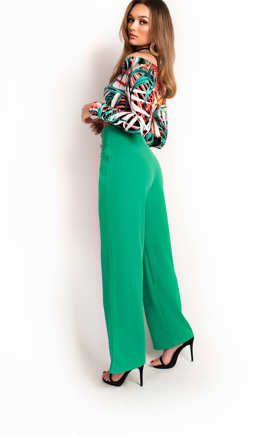 33779815087cac Polly High Waist Button Wide Leg Trousers in Green   ikrush