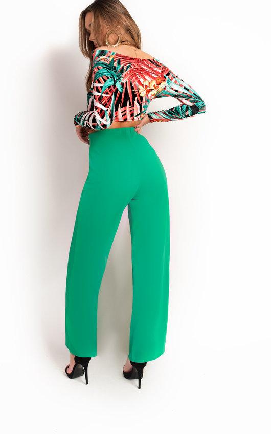 Polly High Waist Button Wide Leg Trousers