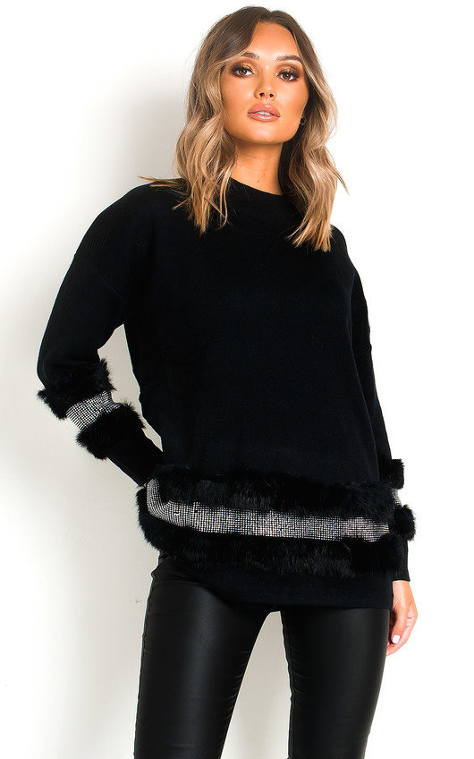 Poppie Faux Fur Diamante Embellished Jumper