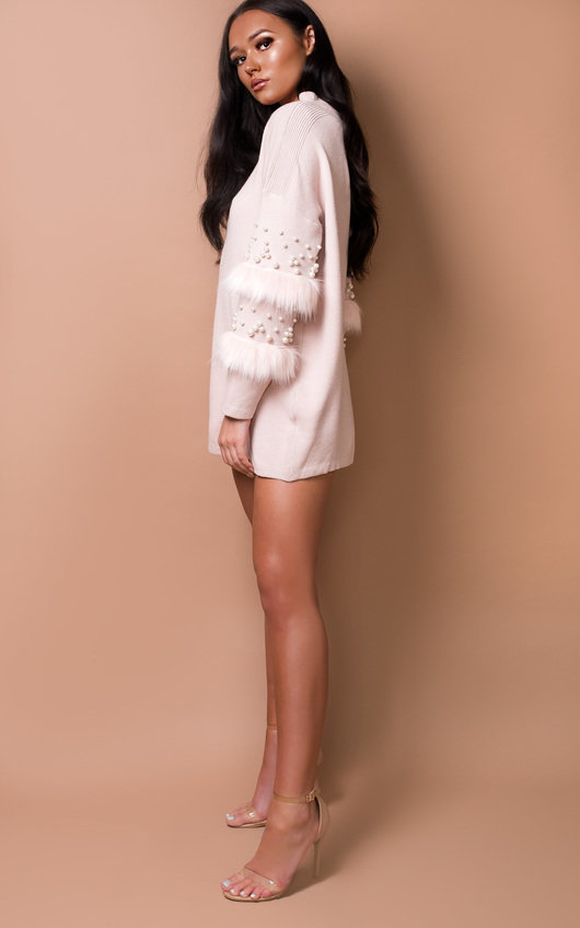 Poppie Faux Fur Knitted Jumper Dress