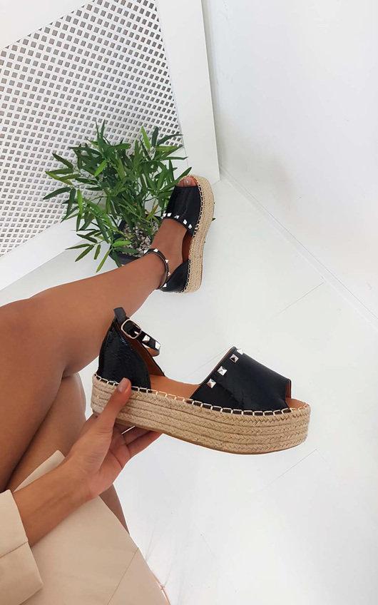Poppie Studded Peep Toe Espadrille Sandal