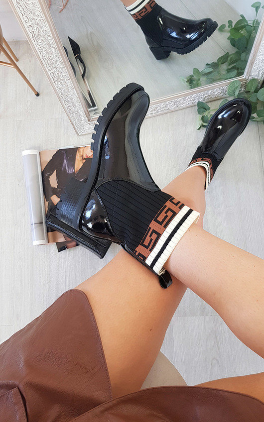 Portia Printed Patent Ankle Boots