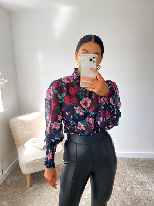 Posie Sheer Floral Top