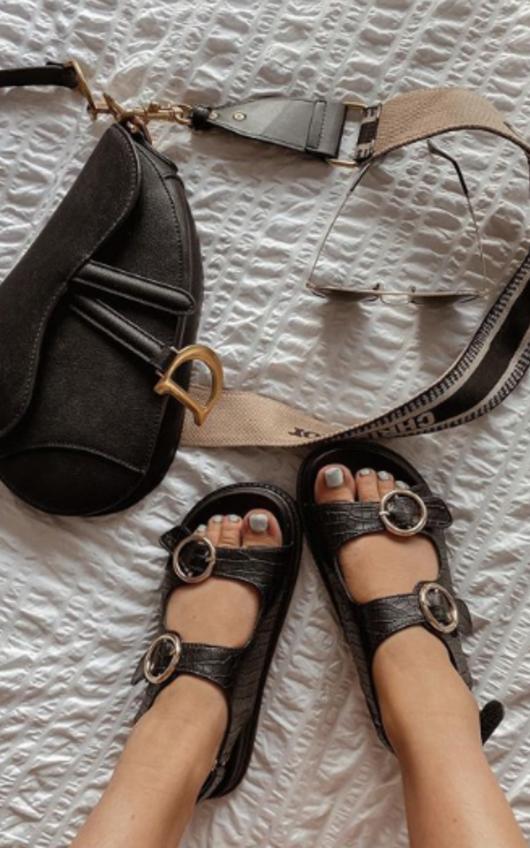 Quinn Croc Print Buckle Sandals
