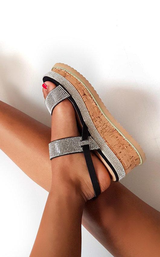 Rach Diamante Embellished Flatform Sandals