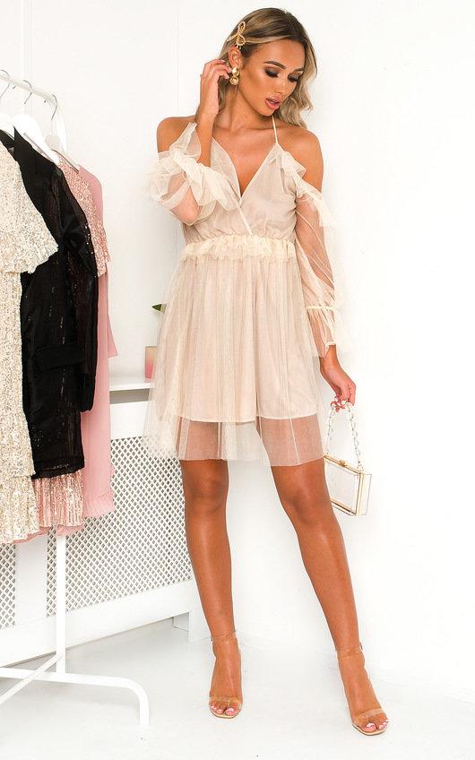 Rachel Bardot Mesh Mini Dress