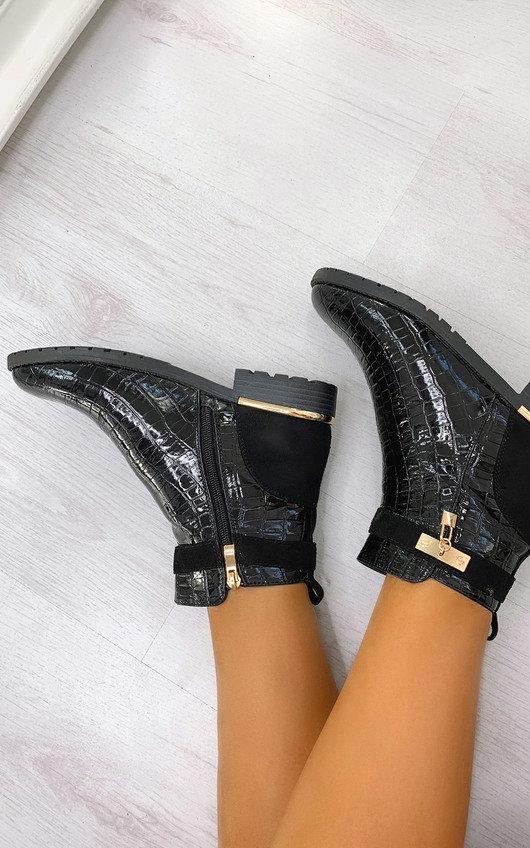 Rachel Croc Print Padlock Ankle Boots