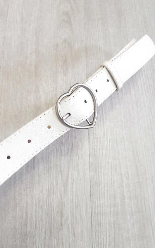 Rachel Faux Leather Belt with Heart Detail