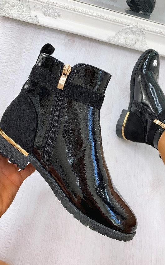 Rachel Faux Leather Padlock Ankle Boots