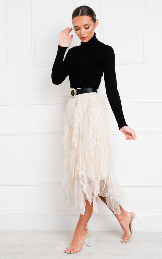 Rada Layered Net Midi Skirt