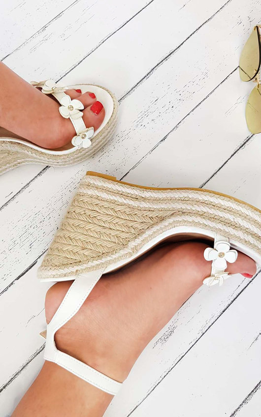 Raina Flower Detail Strap Roped Wedges