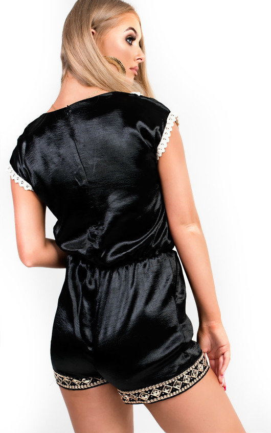 6d38aad95a Raine Embellished Satin Playsuit in Black