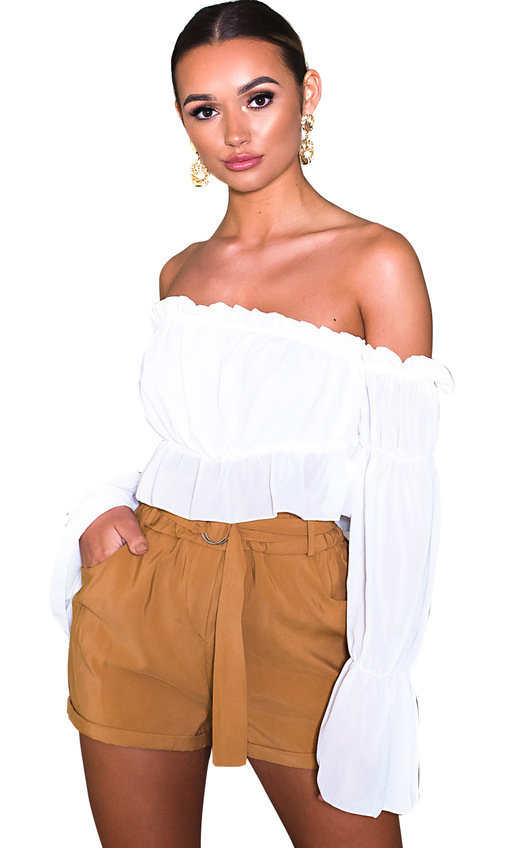 a06aa93895a Raine Off Shoulder Frill Crop Top in Cream | ikrush