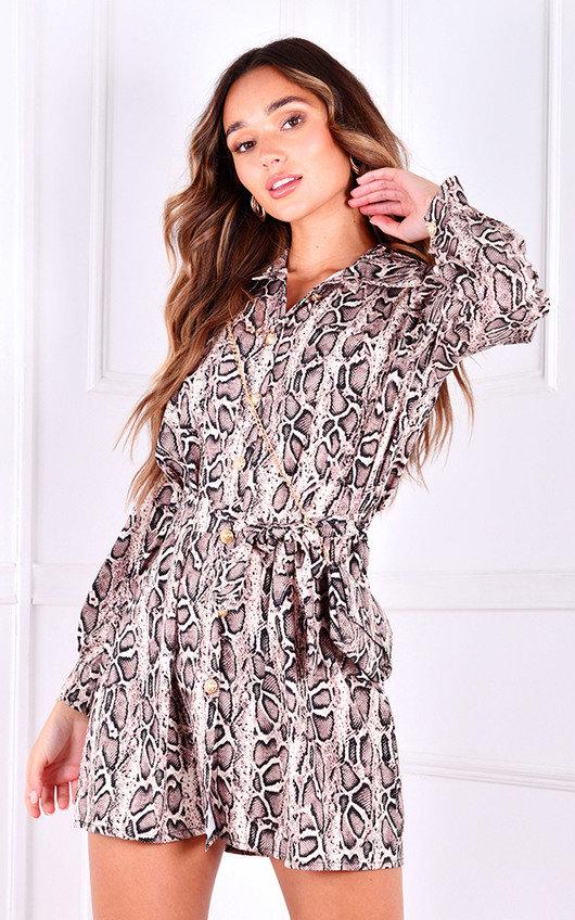 Ramla Tie Waist Long Sleeve Printed Shirt Dress