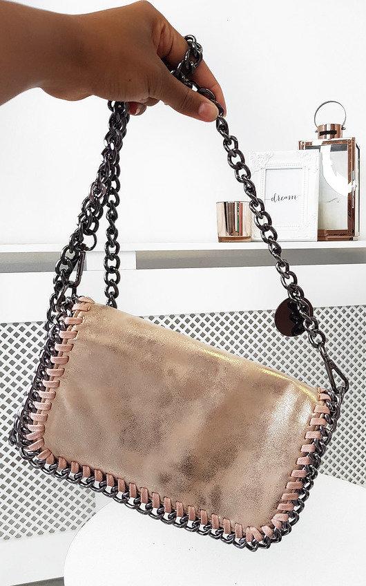 Randy Chain Detail Metallic Handbag