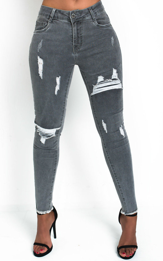 Randy Distressed Frayed Skinny Jeans