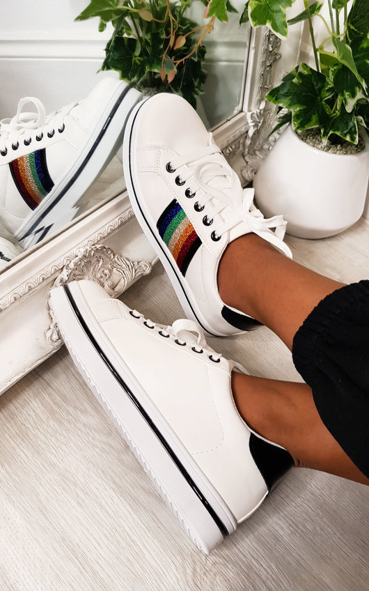Raymond Rainbow Stripe Trainers
