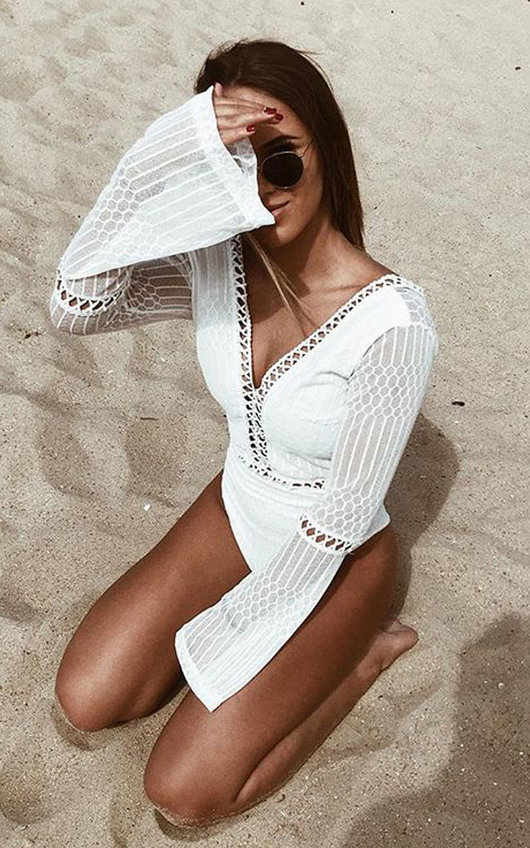 Razzi Crochet Lace Backless Bodysuit