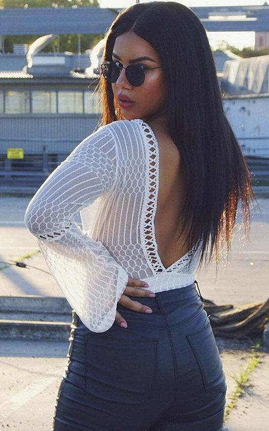 Razzi Crochet Lace Backless Bodysuit