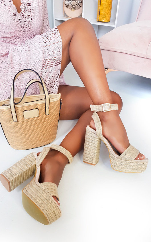 Razzy Raffia Block High Heels