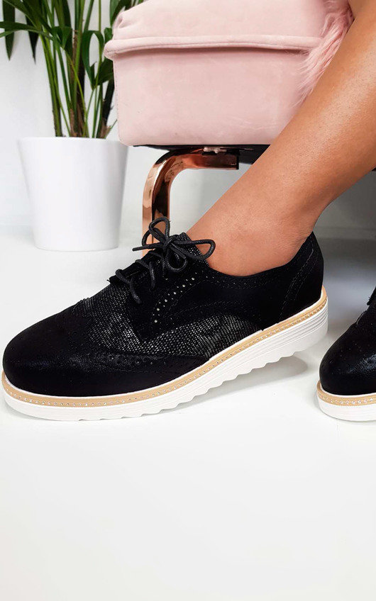 Reagan Faux Suede Wedged Brogue Trainer